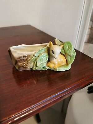 Vintage Eastgate Pottery, Withernsea Fauna Small Log & Bambi Posy • 12£