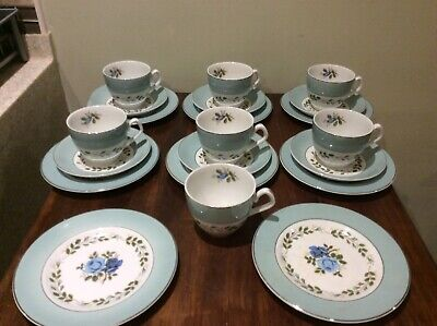 Vintage - Barratts Of Staffordshire Delphatic Tea Set - Blue Roses • 14.95£
