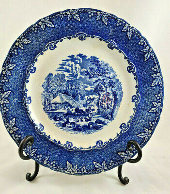 "Antique George Jones And Sons 9 3/4"" Plate Flow Blue England - Farm Scene • 21.94£"