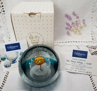 Caithness Paperweight Ltd Ed Christmas We Three Kings Gold 90/500 Box & Papers • 45£