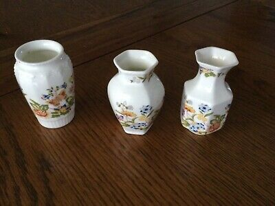 Aynsley Pottery. Cottage Garden Design 3 Small Vases • 10£