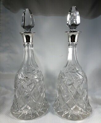A Vintage Pair Of Crystal/Cut Glass & Silver Topped Decanters - Hallmarked • 89£