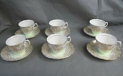 Colclough Cups And Saucers X6 Green Gold Floral Tableware Vintage  • 9.99£