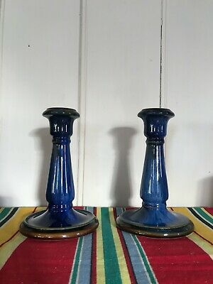 """Pair Of Danesby Ware Electric Blue Candlesticks - Bourne, Denby. 7"""" Height. • 15£"""