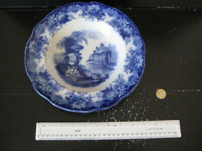 Rare Vintage Transfer Printed Flow Blue And White Scenic Bowl Plate • 14.99£