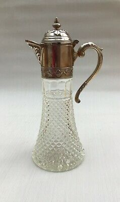 Vintage Italian Claret Cut Glass Jug With Silver Plate Detail • 5.99£