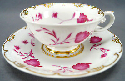 KPM Berlin Hand Painted Pink Floral Leaves & Gold Tea Cup Circa 1837 - 1844 • 237.17£