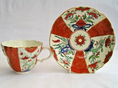 Rare C 1790 Caughley Kakiemon Chocolate Cup & Saucer Like Worcester Orange Japan • 545£