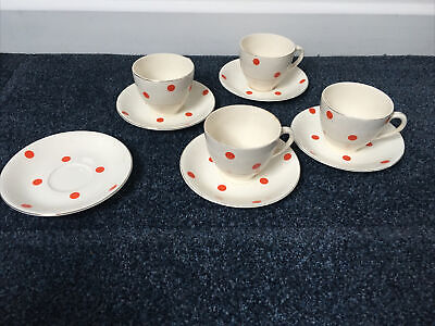 Alfred Meakin Cup And Saucer Red Spots / Dots X4 And An Extra Plate • 10£