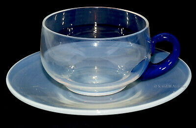 Fry Glass Foval Demitasse #2002 Pearl Cup And Saucer With Delft Blue Handle • 53.39£