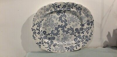 Ridgway WR & Co Flosculous Blue & White Meat Plate • 29.99£