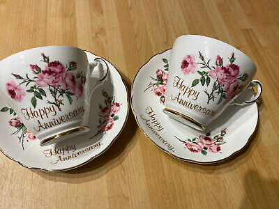 2 Fine Bone China Happy Anniversary Cups And Saucers Argyle Pattern • 8£