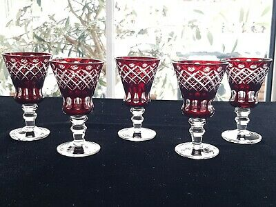 Set Of 5 Sweet Vintage Bohemian Cut To Clear Ruby Deep Red Liquer Tot Glasses  • 20£