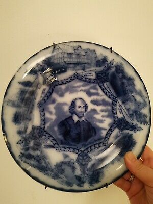 Antique 19th Century :william  Shakespeare:     Flow Blue Cabinet / Wall Plate  • 25£