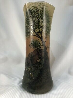 Vintage? 27cm High, Hexagonal Topped Glass Vase With A Pastoral Landscape View. • 10£