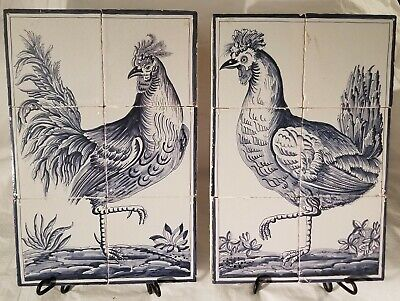Delft Tile Tableaus Panel Hen & Rooster Late 17th / Early 18th Century Exemplar • 803.89£