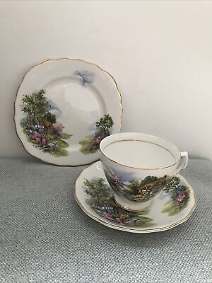 Royal Vale Bone China Trio Teacup,Saucer And Side Plate Country Cottage • 7£