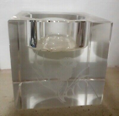 Scottish Thistle Crystal Tealight Candleholder 2.5 Inches Square Excon No Box • 2.47£