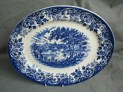 Broadhursts Staffordshire Oval Plate Platter Serving Blue And White 30cm Vintage • 7.99£