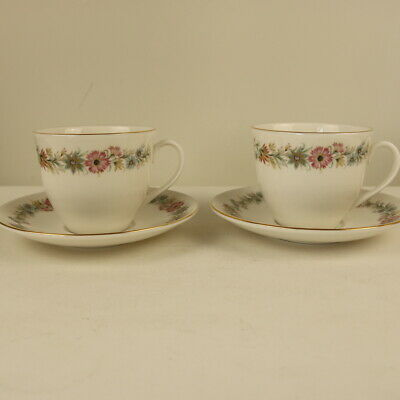 Vintage Royal Vale Fine China 2x Tea Cups & Saucers - Made In England  • 10£
