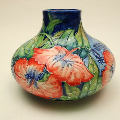 Old Tupton Ware HIBISCUS Tube Lined Squat Vase -Boxed - 5  Tall - 1582 • 17.50£