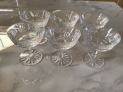 Six Vintage Waterford Cut Crystal Glass Champagne Saucers • 30£