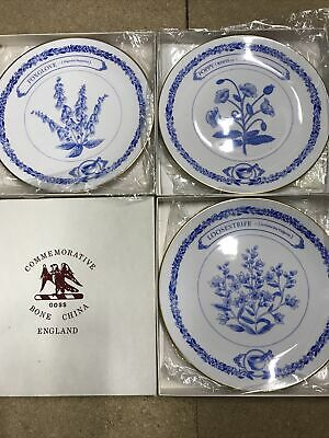 Boxed Goss China Blue & White Plates X3 Foxglove, Poppy And Loosestrife • 7.65£