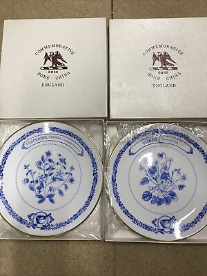 Boxed Goss China Blue & White Plates X2 Pimpernel And Violet Flowers • 6.54£