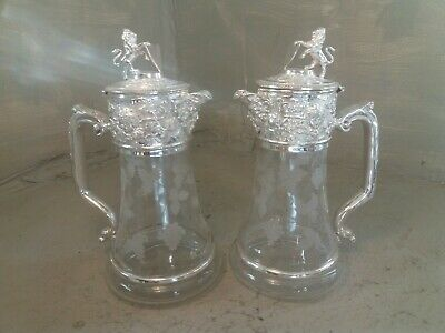 Pair Of Cut Glass Silver Plated Claret Jugs , Decanters , Lion & Shield  • 0.99£