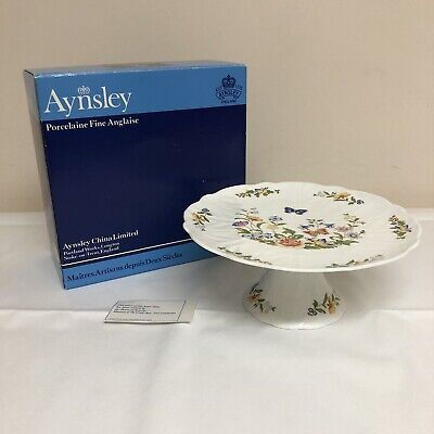 Aynsley Cottage Garden Tall Cake Plate Cake Stand Footed BOXED • 32.99£