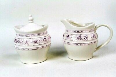 Milk And Sugar Bowl Set Vintage Style Antique White /Cream With Lilac Detail  • 16.99£