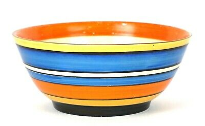 CLARICE CLIFF For LAWLEYS- ART DECO NEWPORT BIZARRE BANDED BLUE YELLOW BOWL DISH • 199.99£