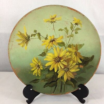 Vintage Watcombe Pottery Hand Painted Charger Yellow Flowers 27cm Diameter • 59£