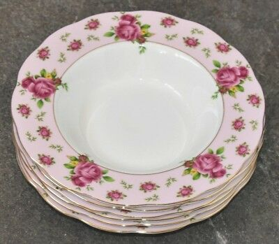 Royal Albert New Country Roses Pink Pair Of 24cm Rimmed Soup Bowls ~ New  • 29.99£