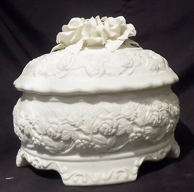 Highly Decorated Bisque/Porcelain Dish With Lid NEW PRICE • 7.99£