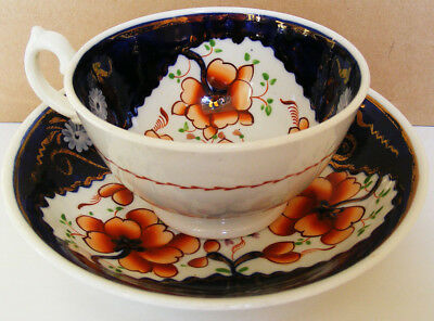 Gaudy Welsh - Richly Coloured Tricorn Pattern Teacup And Saucer - C1845 - 1860 • 24.99£