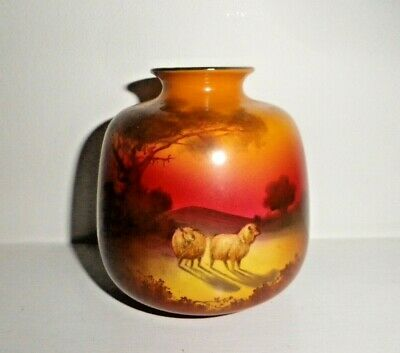 Rare Royal Doulton Antique Vase - Holbein - Sheep At Sunset - Perfect !! • 120£