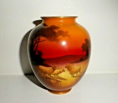 Rare Royal Doulton Antique Vase - Holbein - Sheep At Sunset - Excellent !! • 120£