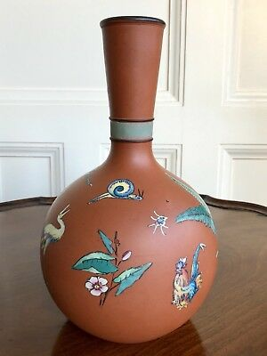 A Victorian Aesthetic Period Watcombe Pottery Terracotta Vase, C.1875. 26cm. • 80£