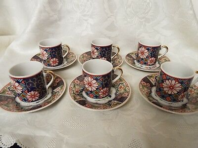 Set Of 6 Vintage Japanese Imari Coffee Cans Cups And Saucers Perfect • 20£