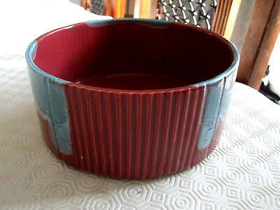 Vintage/Antique Bretby Red Ribbed Bowl With Blue Drip Glaze 93 • 12£