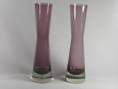 Pair Of Vintage Riihimaki Aubergine Coloured Glass Vases • 24£
