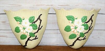 Pair Two Vintage Hand Painted Mid Century Brentleigh Pottery Wall Pockets Sconce • 38£