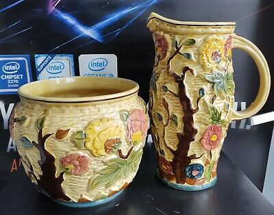 Indian Tree Handpainted Cream & Brown Jug, ByTony Wood Stafordshire, Collectable • 39.95£