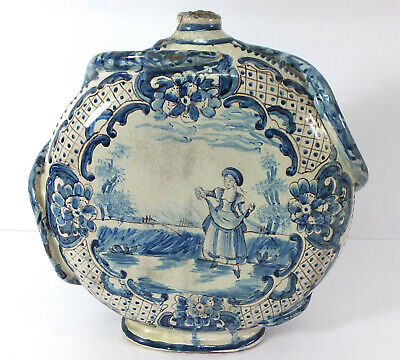 Unusual Hand Painted Delft / Cantagalli (?) Blue & White Moon Flask • 125£