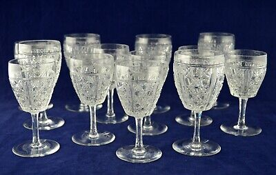 Vintage Collection Of HOBNAIL Webb Crystal Glasses Wine, Sherry & Port - Perfect • 69.50£