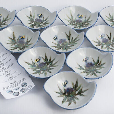 Highland Stoneware 10 Thistle & Bee Handpainted Quaich / Bowls • 274.99£