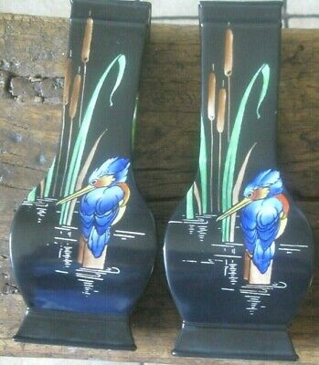 Shelley Art Deco . Pair Vases . Kingfisher Decoration . 24 Cms • 125£