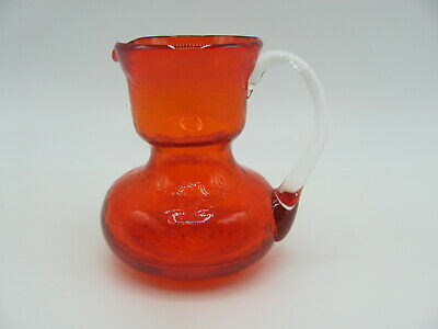 "Pilgrim Red Orange Crackle Glass Mini Pitcher Applied Crystal Handle 3.5"" • 22.99£"