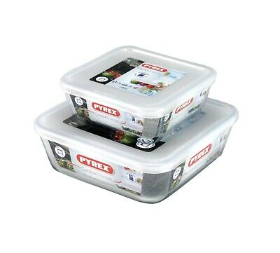 Pyrex 2 Piece Cook & Freeze Square Glass Dishes With Lids 0.85L/2L High Resistan • 19.99£